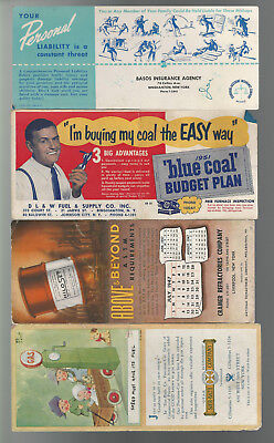 4 USED OLD ADVERTISING BLOTTERS 1947 50s DL&W Coal Gears Insurance Cramer Co