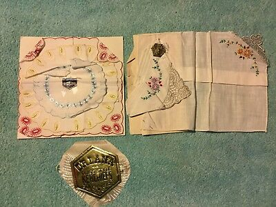 VTG SWISS ORLANA Kerchiefs Colorful Floral Embroidered Lace WOMENS HANKIES NOS
