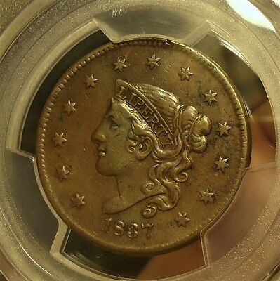 1837  PCGS  Genuine  XF Details,  Coronet Head Cent,  (Cleaned)  $175-$225