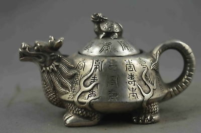 China Collectable Handwork Old Miao Silver Carve Dragon & Tortoise Lucky Tea Pot