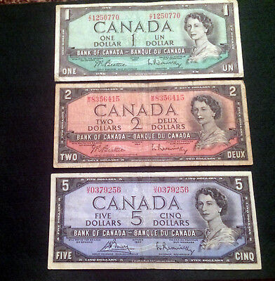 Lot of 3 1954 Bank of Canada  $1, $2, $5 Notes in Very Fine Condition