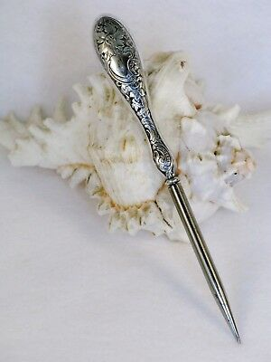 Antique Sterling Silver 925 Victorian Design Awl Sewing Stiletto Fabric Punch