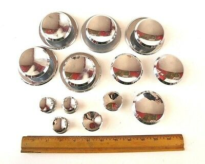13 Vintage Mid Century Modern Chrome Concave Drawer Handles door pulls Lot 60s