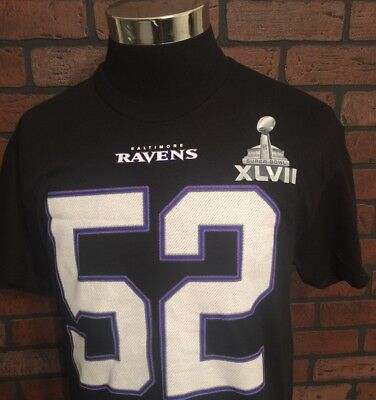 NFL Baltimore Ravens Ray Lewis #52 Superbowl Graphic Tshirt Tee Size M