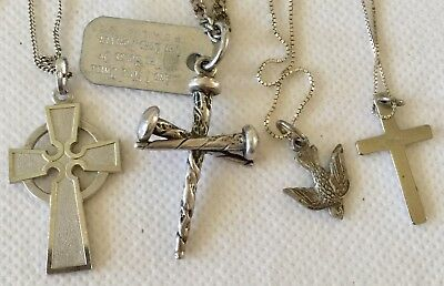 Vtg Sterling Silver Lot Cross Pendants Dove Chains One Made Of Nails Nice