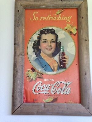 coca cola girl so refreshing in 20x30 wooden frame