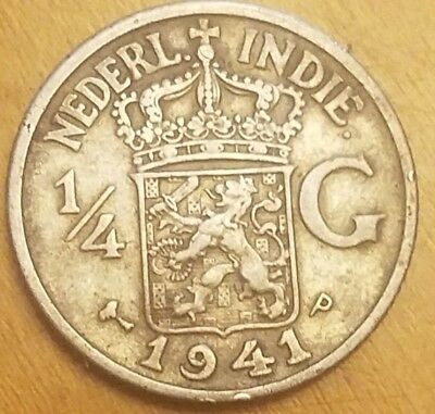 1941 Netherlands East Indies 1/4 Gulden KM# 319 Silver World Coin Low Mintage