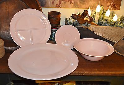 4 Vitg Taylor Smith LuRay Pottery Pink Pastels Pieces Chop Plate, Bowl, 2 Plates