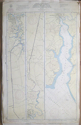 "Vtg 1944 C&GS Nautical CHART #829 INTRACOASTAL Norfolk to Dismal Swamp 24"" x 39"""