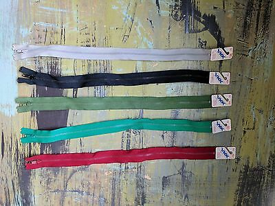 """Lot of 5 New Vintage VTG 14"""" YKK USA Metal Zippers Black Red Green Gray Teal"""