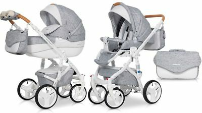 RIKO BRANO LUXE GREY 04  PRAM 3in1 CARRYCOT + PUSH CHAIR + CAR SEAT