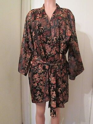 Vintage Peony Brand Shanghai China Black,gold,red Asian Theme Robe,free Size