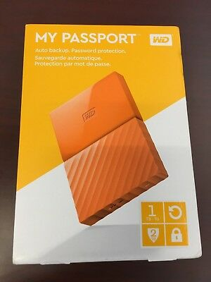 Western Digital WD My Passport 1TB External USB 3.0 Hard Drive - Orange New!