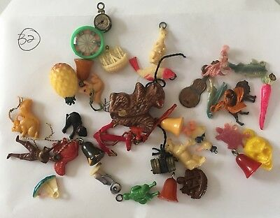 Lot of 32 Cracker Jack Gumball Prizes Charms Toys Mixture plastic metal