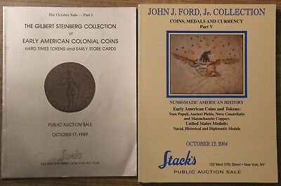 Pair of Stack's auction catalogs with important colonials, Steinberg & Ford V