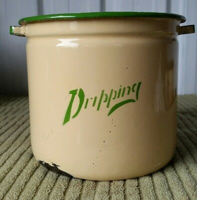 Vintage Enamel Dripping Tin Cream and Green