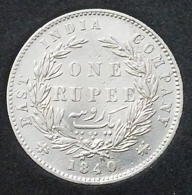 1840 1 Silver Rupee, East India Company. UNC.