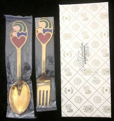 VTG A. MICHELSEN DENMARK STERLING 1968 JUL CHRISTMAS FORK & SPOON w/box, as is*