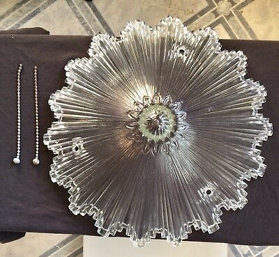 Art Deco Snowflake Starburst 3 Chain Glass Chandelier Ceiling Light Shade