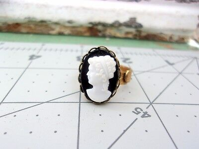 Vintage Adjustable  Gold Tone Ring Brassy Ornate Band White Lucite Cameo (3)