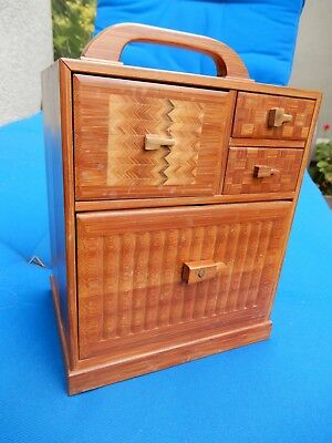 Japanese Tansu Wooden Chest, 4 drawers, beautiful wood, carrying handle