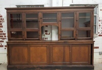 Antique Large Mercantile Apothecary Display Cabinet