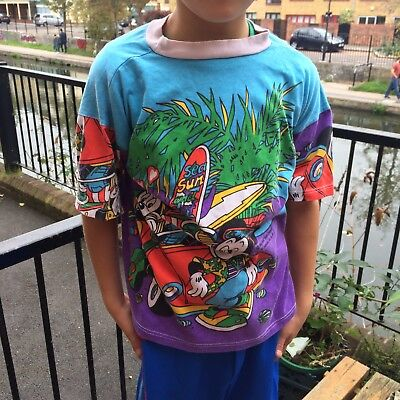 Vintage Kids Mickey Mouse Retro Tiki Tropical Disney 90s T Shirt Top 6-7-8 Y