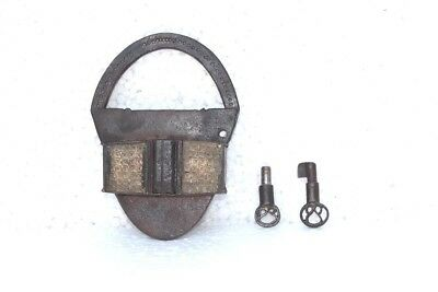 1900's Old Vintage Antique Rare Iron Brass Lock and 2 Key Collectible PB-85