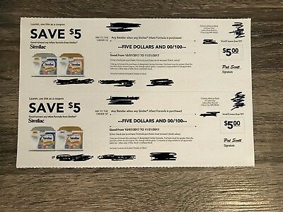 Similac Formula Coupons Lot Of 2 $5.00, So $10 Total Expires 12/16/17