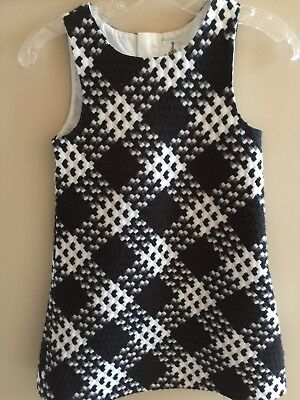 Girl Houndstooth Black/white Plaid Jumper holiday Christmas Dress Size 6 6x