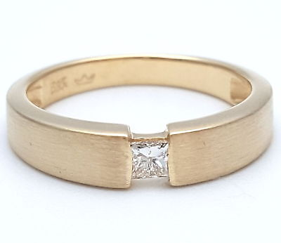 Wert 750,- Solitär 0,15 Ct Diamant Spann Diamant Ring 585 / 14 Kt Gold