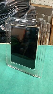 "WATERFORD Crystal 5"" X 7"" CRYSTAL GLASS PHOTO PICTURE FRAME Vtg Art Deco Look"