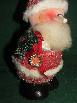 Vintage LARGE Santa Candy Container - German - Bobblehead Nodder! Chenille