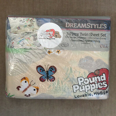 Vintage POUND PUPPIES TWIN Sheet Set 3 PieceNEW IN PACKAGE Dreamstyles