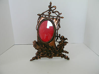 Gift! Antique Cast Iron Picture Frame Sail Boat Pirate Ship Cherub Roses Easel