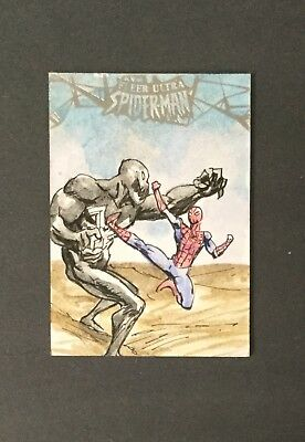 2017 Fleer Ultra Spider-Man SPIDER-MAN vs VENOM Sketch Card by Fabian Quintero