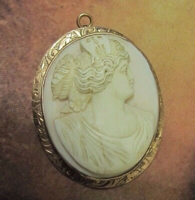 Antique Victorian Vtg Large 10K Gold Carved Cameo Pin Brooch Pendant Angel Skin
