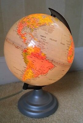 "Vintage World Globe- Light up 12"" tall  Illuminated Night Lamp 25"" around"