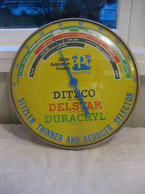 Vintage PPG Ditzco Auto Trick Gas Oil Garage Thermometer Sign Works