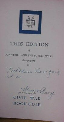 Quantrill & the Border Wars Antique Book 1956 William Connelly Signed Homer Croy