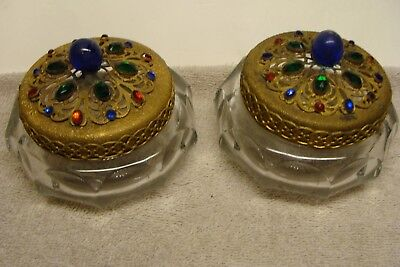 PAIR LOT OF 2 Antique Victorian JEWELED BRASS GLASS ORNATE COLOR Vanity Dresser
