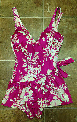 Vintage DeWeese Design 1Pc Skirted Swimsuit Swimdress Size 14/36 Fuchsia White