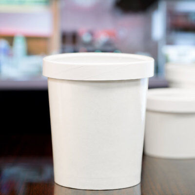 32 oz. Double-Wall White Paper Soup / Hot Food Cup with Vented Lid - 250/Case