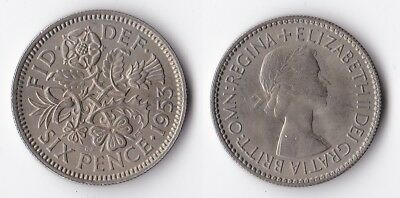 1953 Great Britain sixpence coin