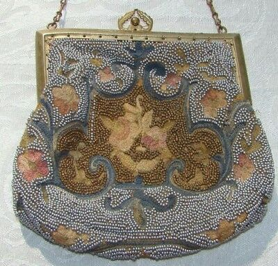 Vintage Art Deco Longchamps Made in France Purse French Micro Beaded Bag