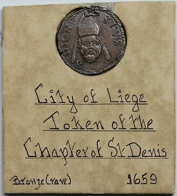 1659 Belgium: Liege copper token of the Chapter of St. Denis, XF, antique holder