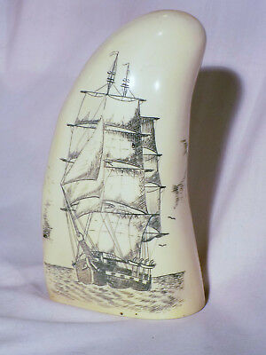 Scrimshaw Whale Tooth Resin Replica 2 Mast Sailing Ship