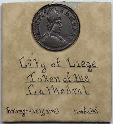 (c. 1700) Belgium: Liege copper Token of the Cathedral, XF-AU, antique holder