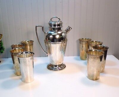 Vintage Mid Century Modern Nickel Silverplate Cocktail Shaker & 8 HiBall Glasses