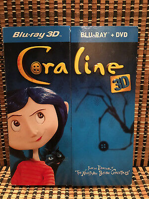 Coraline 3D (2-Disc Blu-ray/DVD, 2009)+Rare/OOP Pop-Up Slipcover.Henry Selick